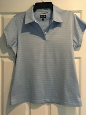 WOMENS ADIDAS CLIMACOOL, SHORT SLEEVE POLO SHIRT,  BLUE, STRIPED, SIZE L, #1169