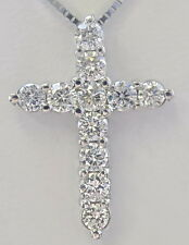 14K White Gold Cross Necklace With 1.0 Carat Diamonds