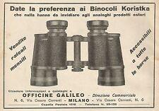 Z0577 Binocoli Koristka Officine Galileo - Pubblicità del 1930 - Advertising