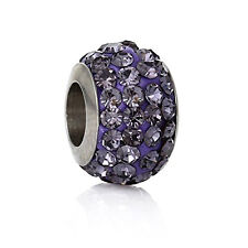 Stainless Steel European Style Charm Beads Round Silver Tone Purple Rhinestone