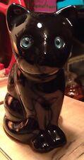 Vintage Ceramic Black Cat ELPA Alcobaca Portugal Blue Glass Eyes Sitting