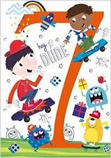 Greeting Card - Male Birthday - Age 7 - 100% Kids Range - Flitter Finish