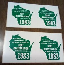 Two sets 1983 Wisconsin Dnr Boat Registration License Decal Sticker