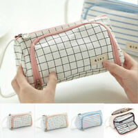 Canvas Pencil Case Makeup Cosmetic Storage Pouch Stationery Pen Bag Organizer