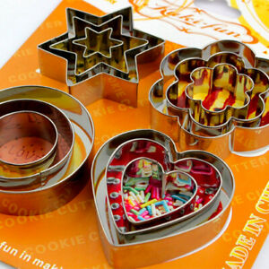 Cookie Biscuit Cutter Star Heart Flower Round Steel Stainles Pastry Baking Mould