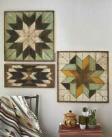 Rustic Wood Geometric Quilt Pattern Wall Art Primitive Farmhouse Picture Decor