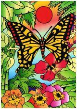 Tableau à colorier en velours - PAPILLON FLEUR - Neuf