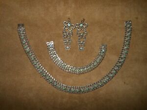 RARE HALLMARKED STERLING & TURQUOISE NECKLACE & BRACELET w/UNMARKED EARRINGS
