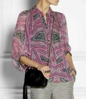 Diane Von Furstenberg Syrah Printed Silk Chiffon Blouse Top Womens Size 6 Pink