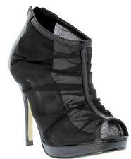 New Black seethru mesh Chifon High heel Pump peep toe Sandal Booties Shoe Sz 5.5