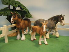 SCHLEICH CLYDESDALE GELDING #13670 MARE #13291 & FOAL #13671 FAMILY  *NEW*