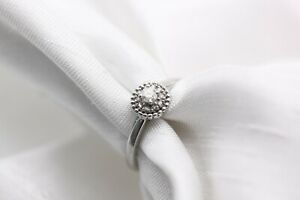 9ct White Gold Diamond Solitaire and Halo Size K 1.7g Ring - 0105084