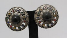 Huge Vtg 80's Silvertone Black Cabochon Multi Rhinestones Clip Earrings Runway