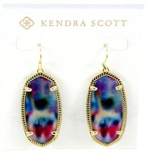 Authentic Kendra Scott Blue Pink Tie Dye Elle Illusion Gold-tone Earrings NEW