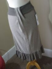 New Northland Cotton Blend Skirt S/M Taupe Light Brown Pleated Hem