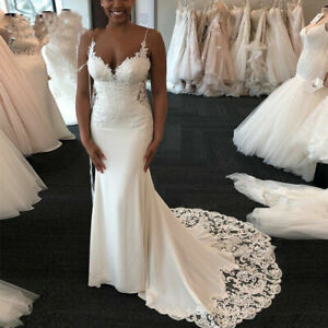 Sexy Lace Wedding Dresses Spaghetti Straps Appliques Mermaid African Bridal Gown