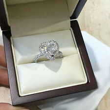 Promise Ring 925 Silver For Her 2.40 Ct White Heart Shaped Halo Engagement