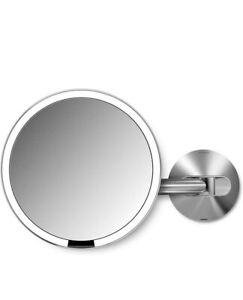 """simplehuman 8"""" Round Wall Mount Sensor Makeup Mirror, 5x Magnification, Recharge"""