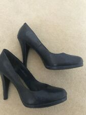 Navy Snake Effect Platform Court Shoes, Size 5. Limited Collection