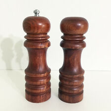 "Sur La Table Wood Salt Pepper Mill Shaker Grinder 7"" Set Catalina"