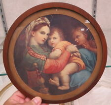 flue cover / unusual wooden frame / mother & child print / 9 1/2 inches glass