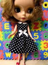 Blythe Doll Outfit Cloth white dot blue dress