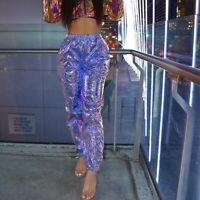 Holographic Streetwear Harem Pants Women Joggers Casual High Waist Workout Pants