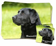Black Labrador-With Love Twin 2x Placemats+2x Coasters Set in Gift Box, AD-L1uPC