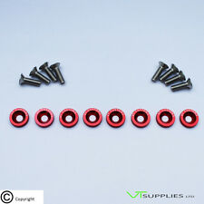 [Red, Logo] M6 Anodized Aluminium Fender Washer Kit for Engine Bay - SS/Bolts