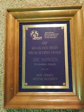 1987 Joe Morris Mid-Atlantic Region Special Olympics Award  Plaque