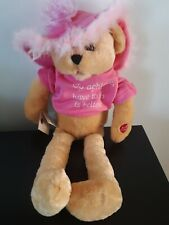 Chantilly Lane Musical Bear Plush To Achieve All You Have To Do Is Believe Pink