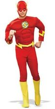 Adult Licensed Deluxe Muscle Chest The Flash Mens Fancy Dress Costume Outfit Extra Large