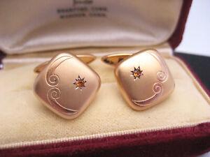 Antique Art Deco 10K Yellow Gold Engrave Green Gemstone Cufflinks Button