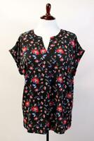 TALBOTS Black FLORAL V-NECK BLOUSE Shirt Top Cuffed Dolman Sleeve Modern PLUS 3X