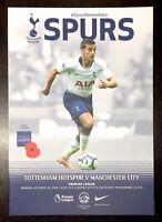 Tottenham Hotspur ( Spurs ) v Manchester City  Programme 29th October 2018