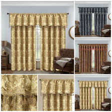 Luxury Ready Made Fully Lined Jacquard Pencil Pleat Pair of Pelmet Curtains