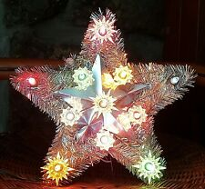 Vintage STAR CHRISTMAS TREE TOPPER 11-LIGHT SILVER TINSEL ~ SECO ELECTRIC 1950s