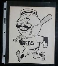 "VINTAGE Baseball Cartoon Team Print CINCINNATI REDS (8"" X 10"") Original Print"