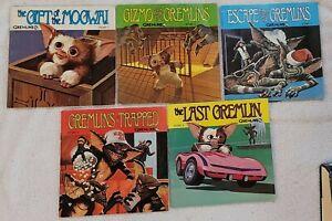 Gremlins Vinyl Record 45 RPM Complete Set Read Along Books Lot 1-5 1984 Records