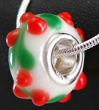 925 Solid Sterling Silver White Murano Glass Bead Sweet Red Cherries Green Leafs