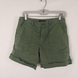 J Crew Women's  green Linen Blend roll up Shorts Sz 4