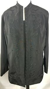 Maggie Sweet Womens 3pc Set Jacket Blouse Elastic Pants Size Medium Black
