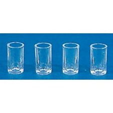 Dollhouse Miniature Glasses, Clear Plastic, 4 pcs