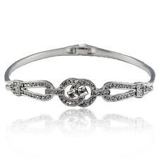 14k white Gold plated with Swarovski crystals solid bangle bracelet