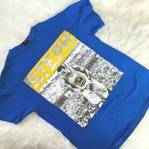 NBA Golden State Warriors T-Shirt Size Large Steph Curry Blue Majestic Brand