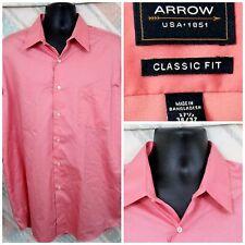 """Arrow 17.5"""" 36/37 Cotton Blend LS Coral No Iron      K14"""