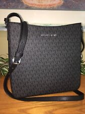 MICHAEL KORS JET SET TRAVEL LARGE MESSENGER CROSSBODY BAG BLACK SIGNATURE $298