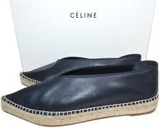 Celine Paris Flat Sandal V Neck Navy Leather Espadrille 39 Flats Ballerina