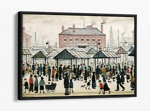 LS LOWRY MARKET SCENE NORTHERN TOWN -FLOAT EFFECT CANVAS WALL ART PIC PRINT-