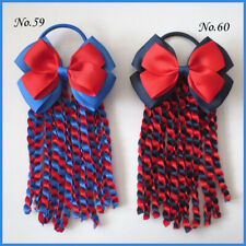 "12 BLESSING Good Girl 4.5"" Double Angel Hairbow Ribbon Plait Ponytail Elastic"